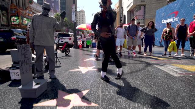michael jackson tribute dancer - walk of fame stock videos & royalty-free footage