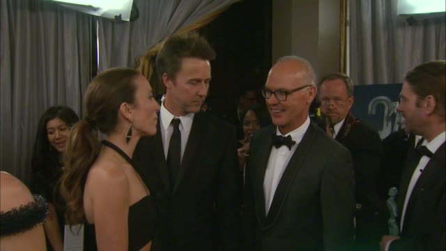 michael keaton and edward norton at the 21st annual screen actors guild awards trophy room at the shrine auditorium on january 25 2015 in los angeles... - shrine auditorium stock videos and b-roll footage