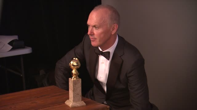 Michael Keaton at 72nd Annual Golden Globe Awards Backstage at The Beverly Hilton Hotel on January 11 2015 in Beverly Hills California