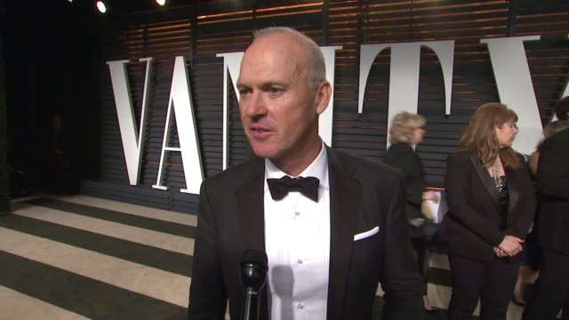 interview michael keaton at the 2015 vanity fair oscar party hosted by graydon carter at wallis annenberg center for the performing arts on february... - wallis annenberg center for the performing arts stock videos and b-roll footage
