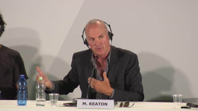 michael keaton on his career at 'birdman' press conference - 71st venice international film festival at palazzo del casino on august 27, 2014 in... - 第71回ベネチア国際映画祭点の映像素材/bロール