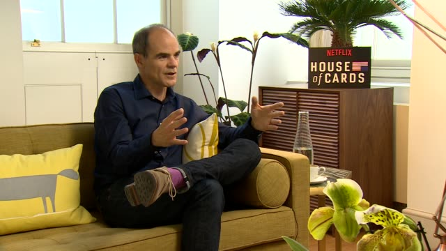 iinterview michael kelly on why the show is so strong keeping the crew together the scripting feeling like being on a film set dropping all the shows... - season 4 stock videos and b-roll footage