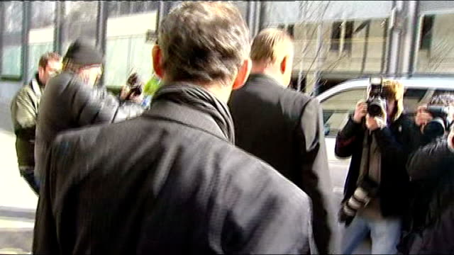 michael le vell to stand trial on child sex abuse charges le vell departing court and saying hello to photographers then along to car sot - マイケル レ ベル点の映像素材/bロール