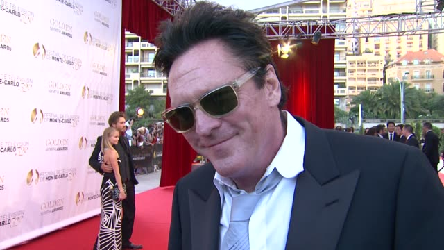 michael madsen and deanna madsen on being at the festival and meeting prince albert at the 52nd annual monte carlo television festival interview:... - michael madsen stock videos & royalty-free footage