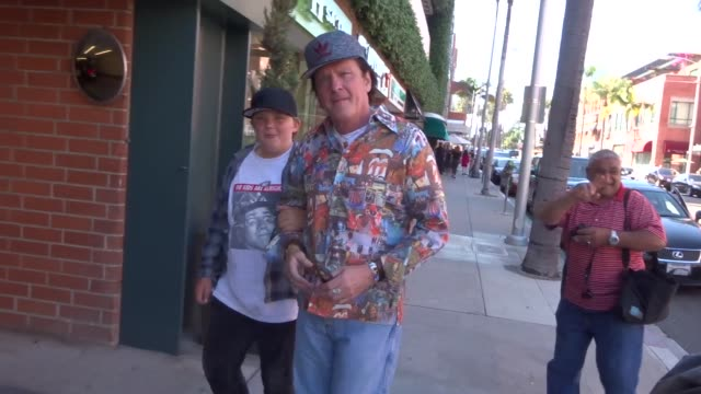 michael madsen & luke madsen talk about the godfather reunion while shopping in beverly hills in celebrity sightings in los angeles, - michael madsen stock videos & royalty-free footage