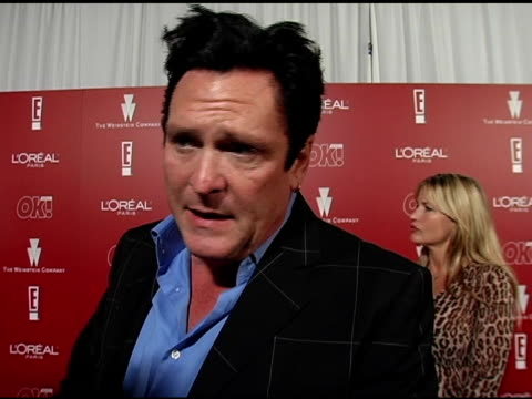 stockvideo's en b-roll-footage met michael madsen on his new film with daryl hannah and ving rhames, 'sin city 2' and on his sisters success at the 2006 weinstein company pre-oscar... - oscar party