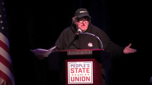 Michael Moore at Town Hall for People's State of the Union day before POTUS State of the Union talks about what we can do to get rid of Trump and the...