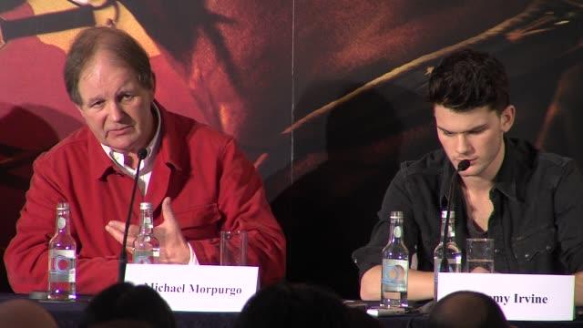 vídeos y material grabado en eventos de stock de michael morpurgo on how his book became the movie at war horse press conference part 2 at claridges hotel on january 9 2012 in london england - michael morpurgo