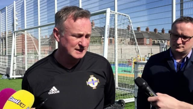 michael o'neill reflects on opening two victories in european championships qualifying pat jennings discusses the performances of keeper bailey... - pat jennings stock videos and b-roll footage