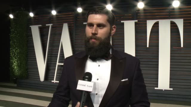 interview michael paleodimos at the 2016 vanity fair oscar party hosted by graydon carter at wallis annenberg center for the performing arts on... - wallis annenberg center for the performing arts stock videos and b-roll footage