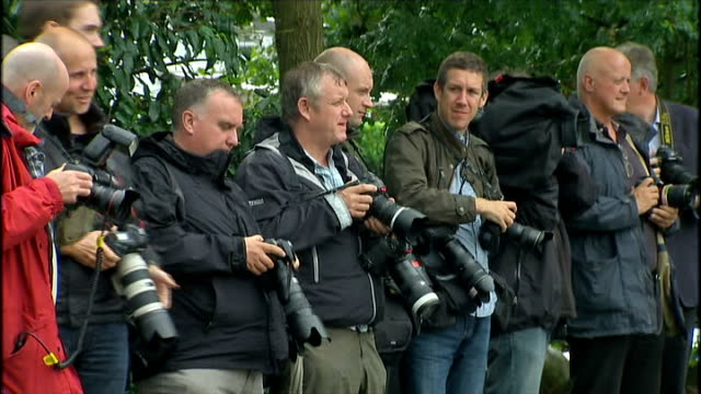 michael parkinson criticises handling of cliff richard home search t15081407 / tx cars along towards press photographers gathered outside sir cliff... - cliff richard stock videos and b-roll footage