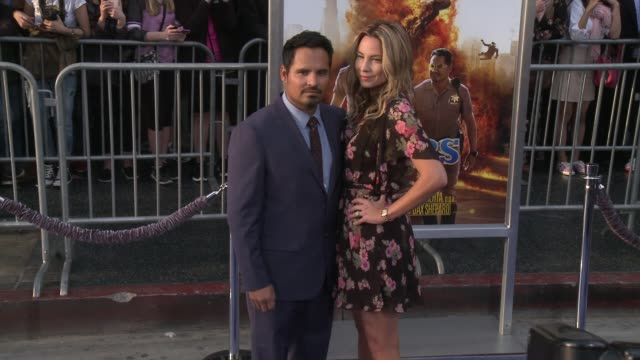 Michael Pena Brie Shaffer at CHiPS Premiere in Los Angeles CA