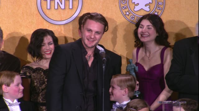 Michael Pitt on the event and on their SAG Award win for Ensemble in a Drama Series at 18th Annual Screen Actors Guild Awards Press Room on 1/29/12...