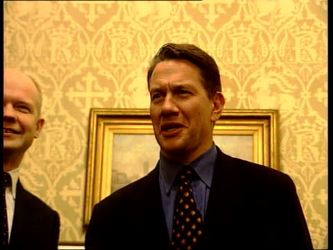 michael portillo appointed shadow chancellor itn london westminster william hague mp posing with michael portillo mp and sir archie norman mp pull... - michael portillo stock videos & royalty-free footage