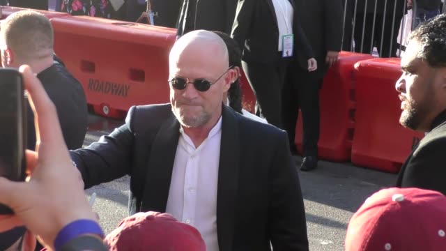 michael rooker arriving to the guardians of the galaxy 2 premiere at dolby theatre in hollywood in celebrity sightings in los angeles, - the dolby theatre stock videos & royalty-free footage