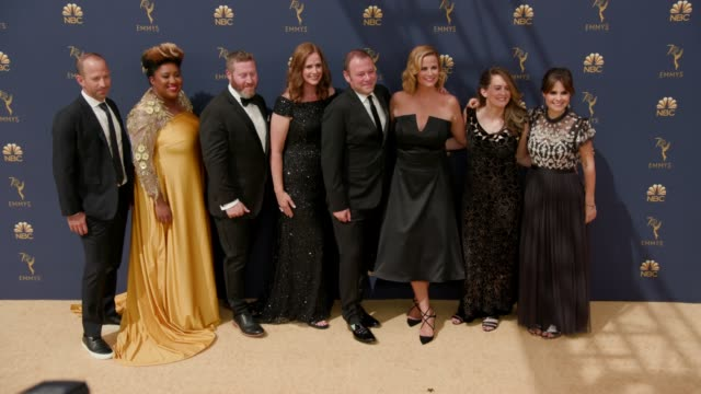 michael rubens ashley nicole black miles kahn allana harkinl pat king alison camillo amy hoggart at the 70th emmy awards arrivals at microsoft... - 70th annual primetime emmy awards stock videos and b-roll footage