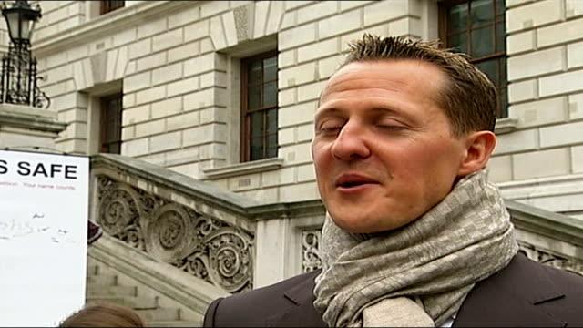 Michael Schumacher fronts UN campaign to cut road deaths Michael Schumacher interview SOT On possibility of London hosting Grand Prix