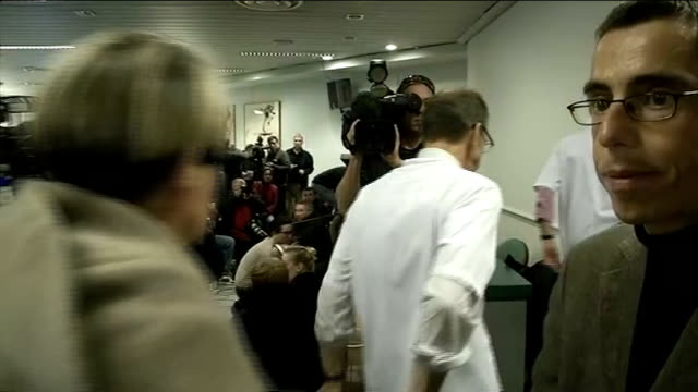 michael schumacher still being treated in hospital following skiing accident france grenoble int team of doctors arriving at press conference... - pressekonferenz stock-videos und b-roll-filmmaterial
