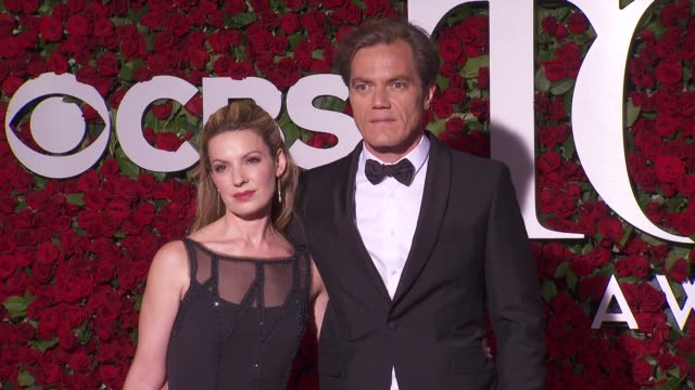 michael shannon and guest at 2016 tony awards red carpet at the beacon theatre on june 12 2016 in new york city - 70th annual tony awards stock videos and b-roll footage