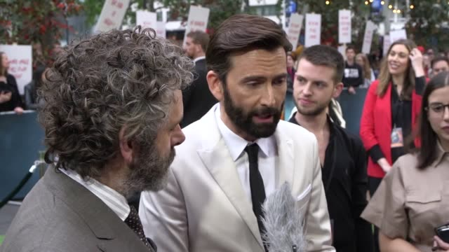 michael sheen, david tennant, john hamm and writer neil gamon were among the starts who attended the premiere of good omens at the odeon luxe in... - michael sheen bildbanksvideor och videomaterial från bakom kulisserna
