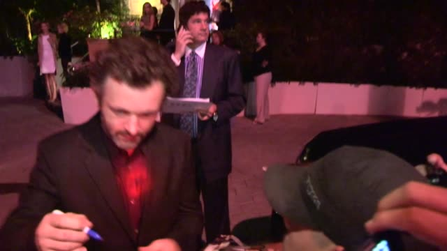 michael sheen greets fans at showtime 2013 emmy eve soiree at sunset tower in weho at celebrity sightings in los angeles on september 21, 2013 in los... - showtime video stock e b–roll