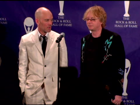 Michael Stipe and Mike Mills of REM inductees on playing in the super jam what it means to be inducted into the Hall of Fame their contribution to a...