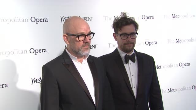 Michael Stipe and Thomas Dozol at Metropolitan Opera Gala Premiere Of Jules Massenet's Manon at The Metropolitan Opera House on March 26 2012 in New...