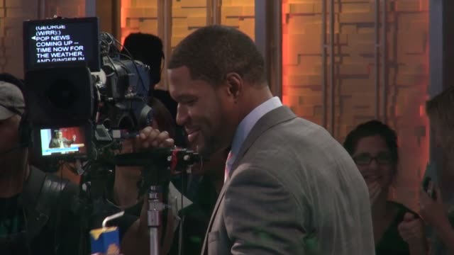 michael strahan gives high fives to the gma's anchors minime's on the set of the good morning america show in celebrity sightings in new york - verne troyer stock videos & royalty-free footage