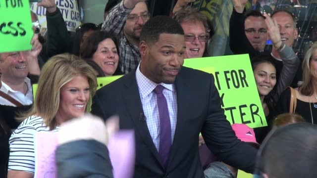 michael strahan on the outside set of the 'good morning america' show celebrity sightings in new york on may 14 2015 in new york city new york - good morning america stock videos and b-roll footage