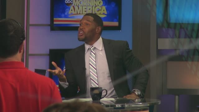 michael strahan on the set of the good morning america show celebrity sightings in new york on may 29 2014 in new york city - good morning america stock videos and b-roll footage