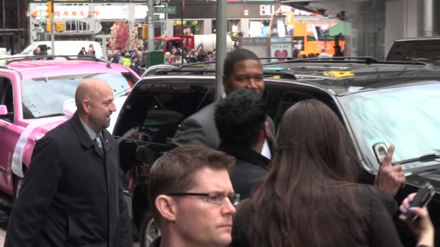 michael strahan walking to getting into his car outside the good morning america show in celebrity sightings in new york - good morning america stock videos and b-roll footage