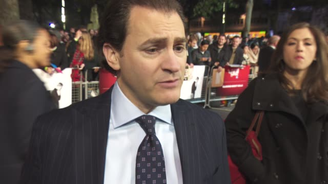 interview michael stuhlbarg on the responsibility of the film the script telling the truth the film not being fiction michael fassbender looking like... - odeon leicester square stock videos and b-roll footage