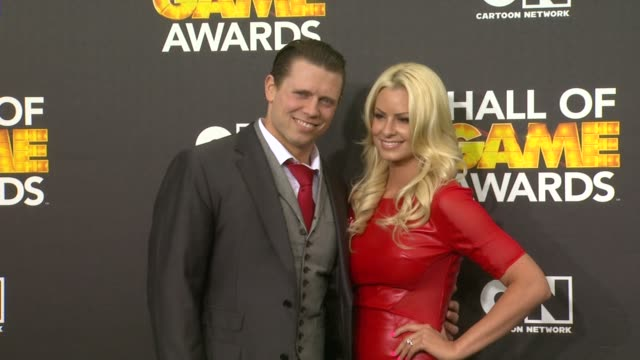 michael 'the miz' mizanin, and maryse ouellet at cartoon network hosts fourth annual hall of game awards at barker hangar on february 15, 2014 in... - barker hangar stock videos & royalty-free footage
