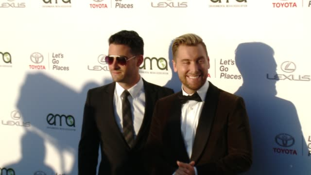 michael turchin and lance bass at the 27th annual environmental media association awards at barker hangar on september 23 2017 in santa monica... - barker hangar stock videos & royalty-free footage