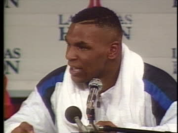 michael tyson says he is the best fighter, even though he does not want to believe it himself, after his winning fight with frank bruno. - sport stock videos & royalty-free footage