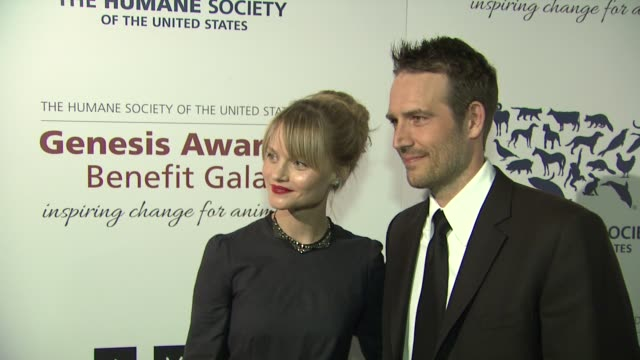 michael vartan lindsay pulsipher at 2013 genesis awards benefit gala presented by the humane society of the united states on 3/23/13 in los angeles ca - michael vartan stock videos & royalty-free footage