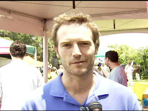 michael vartan on working the rubber ducky dash on the winning techniques on looking like he peed he pants because he is all wet at the 'a time for... - elizabeth glaser stock videos & royalty-free footage