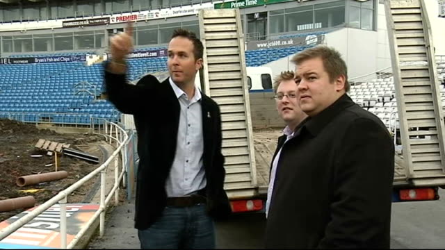 West Yorkshire Leeds Headingley EXT General view building work inside cricket stadium Michael Vaughan pointing around ground Michael Vaughan...