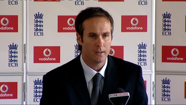 michael vaughan press conference sot - want to thank family / they've been huge rock and know how proud mum and dad have been - when spoke to dad... - press conference stock videos & royalty-free footage