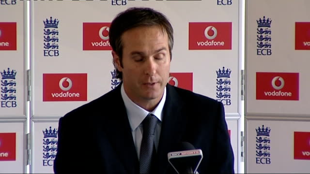 michael vaughan resigns as england captain following defeat against south africa: press conference; england: lougborough: national cricket... - press conference stock videos & royalty-free footage