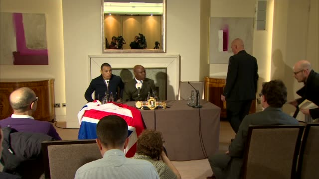michael watson reaction to nick blackwell hospitalisation after title fight; t29031621 / tx chris eubank jnr and chris eubank snr at press conference... - chris eubank sr. stock videos & royalty-free footage