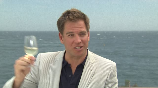 michael weatherly talks about the first time he came to the festival and pretends ll cool j is giving him wine takes a sip at the 50th monte carlo tv... - ll cool j stock videos and b-roll footage
