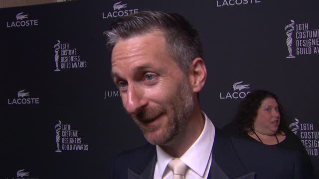 michael wilkinson on how it feels to be recognized by the cdg, where he gets inspiration from, why amy adams is deserving of this honor and working... - the beverly hilton hotel点の映像素材/bロール