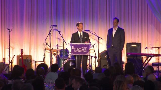 speech michael wright at 14th annual chrysalis butterfly ball in los angeles ca - chrysalis butterfly ball video stock e b–roll