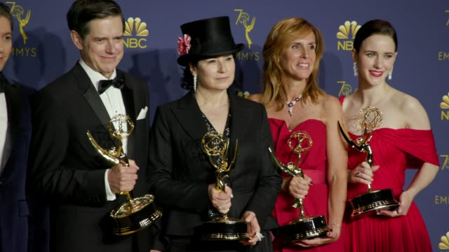 Michael Zegen Daniel Palladino Amy ShermanPalladino Sheila Lawrence and Rachel Brosnahan at the 70th Emmy Awards Photo Room at Microsoft Theater on...