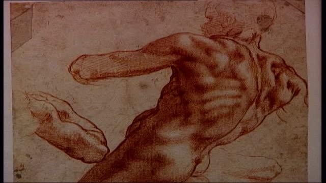 michaelangelo exhibition at british museum; close shot detail of sketches of crucifixion hugo chapman interview sot - male body is fundamental in... - torso bildbanksvideor och videomaterial från bakom kulisserna