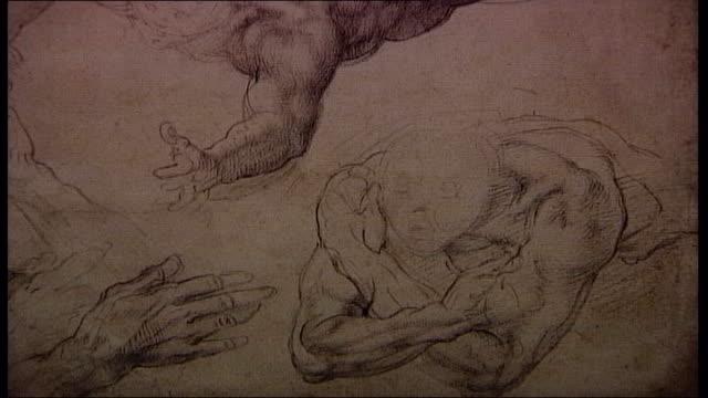 michaelangelo exhibition at british museum; england: london: british museum: int close shot detail of michaelangelo sketch visitors in gallery close... - torso umano video stock e b–roll