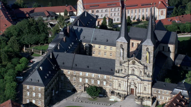 michaelsberg abbey and bamberg cathedral  - aerial view - bavaria,  upper franconia,  kreisfreie stadt bamberg,  germany - abbey stock videos & royalty-free footage