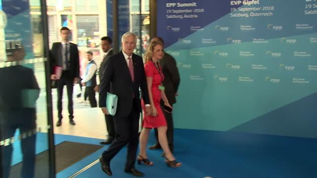Michel Barnier arriving at the EU Summit in Salzburg
