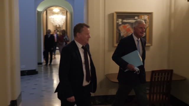 """michel barnier, eu chief negotiator and david frost, eu advisor to the pm, in brussels for brexit negotiations - """"bbc news"""" stock videos & royalty-free footage"""